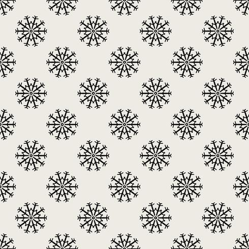 Sömlös mönster bakgrund. Abstrakt och klassiskt koncept. Geometrisk kreativ design snyggt tema. Illustration vektor. Svartvit färg. Snowflake is för juldagen vektor