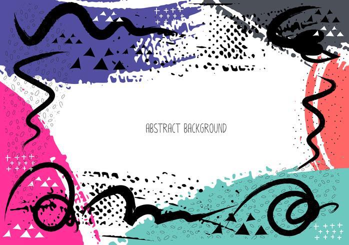 Konstnärliga kreativa kort med penselsträckor, Abstrakt penselslag bakgrund, Vektor illustration.