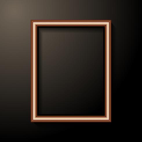 Goldene Fotorahmenschablone. Inneneinrichtung und Innenraumkonzept. Schwarzer heller Hintergrund vektor