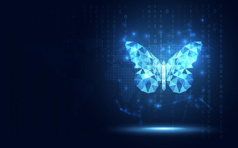 Futuristisk blå lowpoly fjäril abstrakt teknik bakgrund. Artificiell intelligens digital transformation och stor data koncept. Business quantum internet nätverk kommunikation evolution koncept vektor