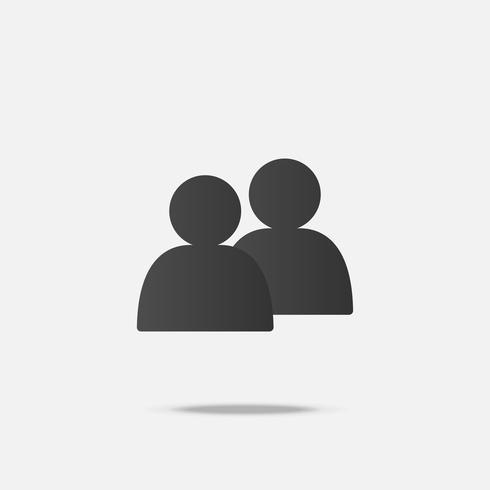 Social platt ikonvektor med skugga vektor