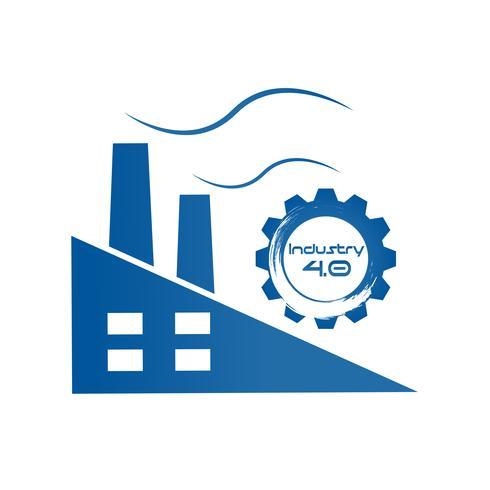 Industrie 4.0 in Involute Gear mit Fabrikgebäude. Produktionskonzept für Business und Automation. Konzept für Cyber Physical und Feedback Control Systems. Futuristisch vom Weltnachrichtendienst-Netzthema. vektor