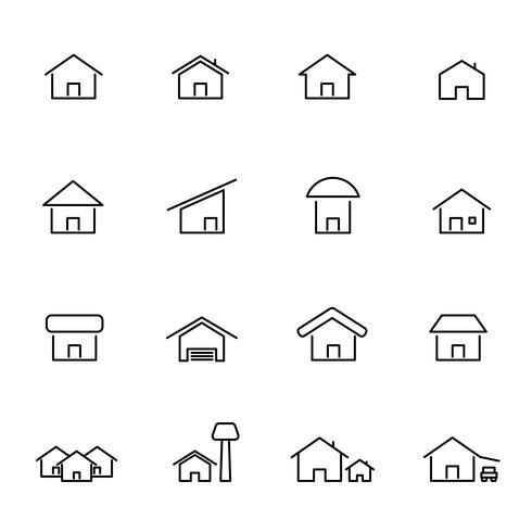 Hus och hem ikonuppsättning vektor. Levande konstruktion och symbolkoncept. Tunn linje ikon tema. Vit isolerad bakgrund. Illustration vektor. vektor