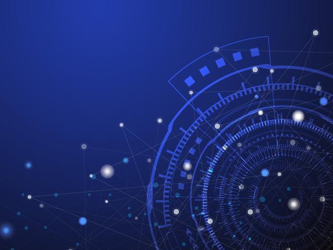Blå teknik cirkel och datavetenskap abstrakt bakgrund med blå och vit linje prick. Affärs- och anslutningskoncept. Futuristic and Industry 4.0 koncept. Internet cyber och nätverk tema. vektor