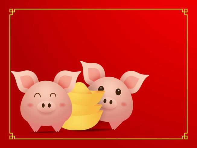 par söt gris och guld på röd bakgrund vektor