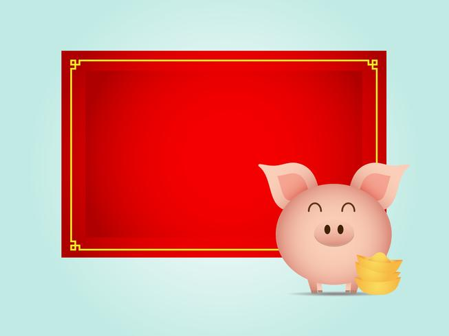 söt gris med guld och blank röd kartong vektor