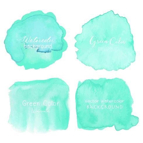 Grön abstrakt vattenfärg bakgrund. Akvarell element för kort. Vektor illustration.