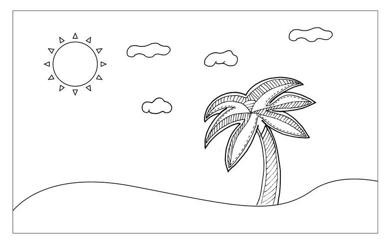 Strandlinjekonst för målning och föreställning. Nutural and Sketch art koncept. Schemat tema. Vektor illustration bakgrund.