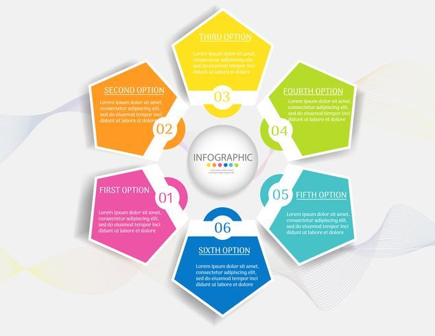 Entwerfen Sie infographic Diagrammelement der Schritte der Geschäftsschablone 6 mit Platzdatum für Darstellungen, Vektor EPS10.
