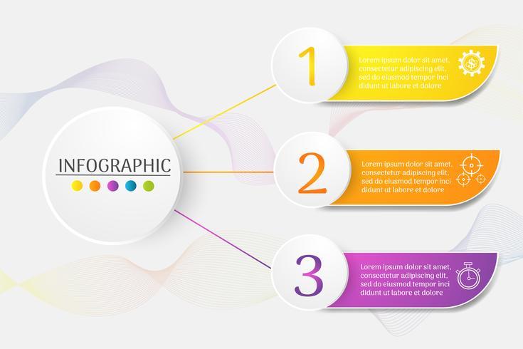 Entwerfen Sie infographic Diagrammelement der Schritte der Geschäftsschablone 3 mit Platzdatum für Darstellungen, Vektor EPS10.