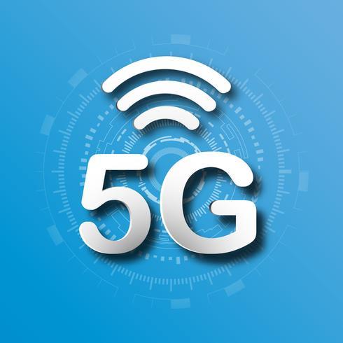 Blauer Logohintergrund der zellularen Mobilkommunikation 5G mit Linie Verbindungsübertragung des globalen Netzwerks. Digitales Transformations- und Technologiekonzept. Massives zukünftiges Geräteanschluss-Hochgeschwindigkeitsinternet vektor