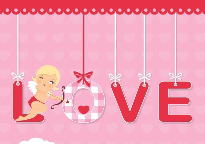 Cupid Alla hjärtans dag Vector Bakgrund