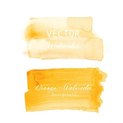 Orange pensel stroke akvarell på vit bakgrund. Vektor illustration.