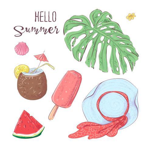 Sats av tropisk frukt och hatt. Vektor illustration Hand ritning