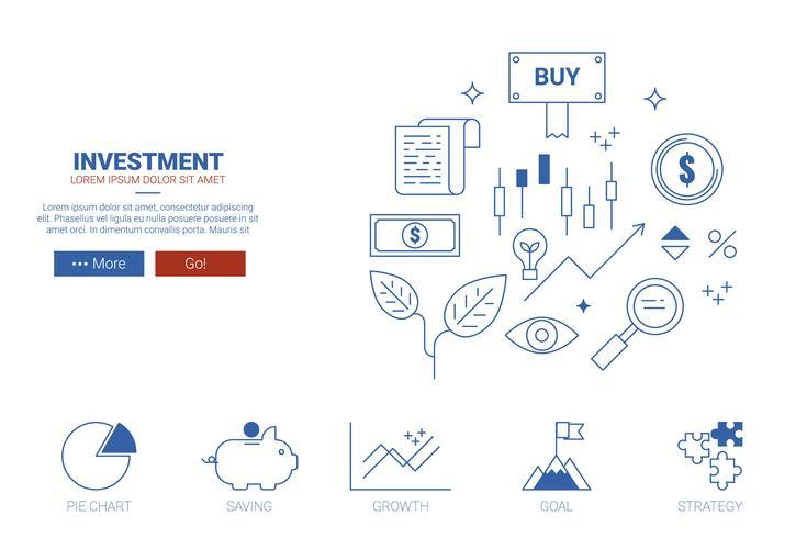 Investeringswebbsidekoncept vektor
