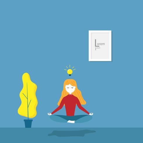 tjejen tränar meditation yoga vektor