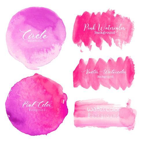 Rosa pensel stroke akvarell på vit bakgrund. Vektor illustration.