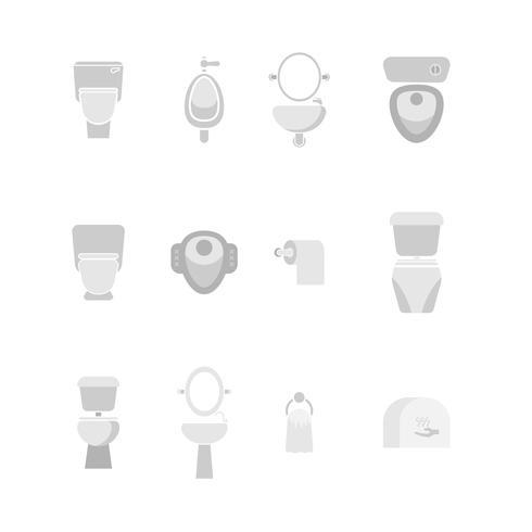 uppsättning urinal, toalettskål och utrustning på toaletten vektor