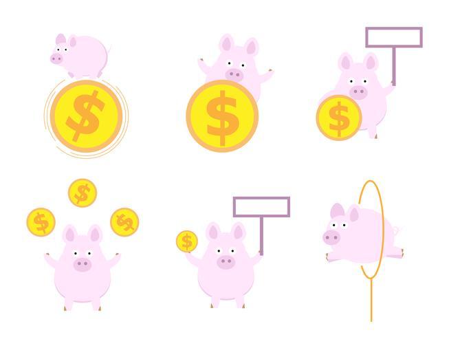 söt gris med pengar mynt platt design vektor