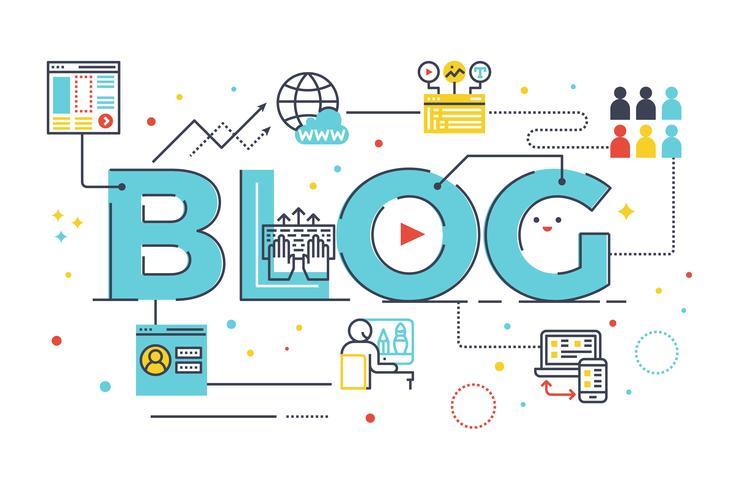 Blog-Wortbeschriftung vektor