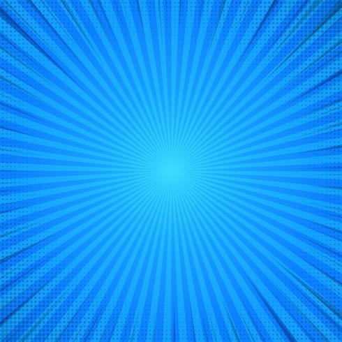 Blauer abstrakter komischer Karikatur-Sonnenlicht-Hintergrund. vektor