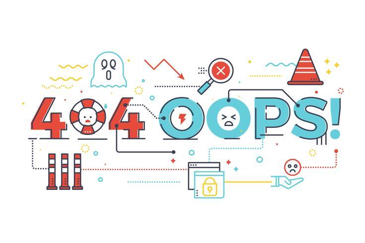 404 hoppla! Wort für Internetseite Seite nicht gefunden vektor