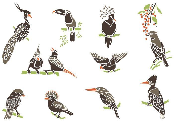 Exotiska fågelvektorer på grenar Pack vektor