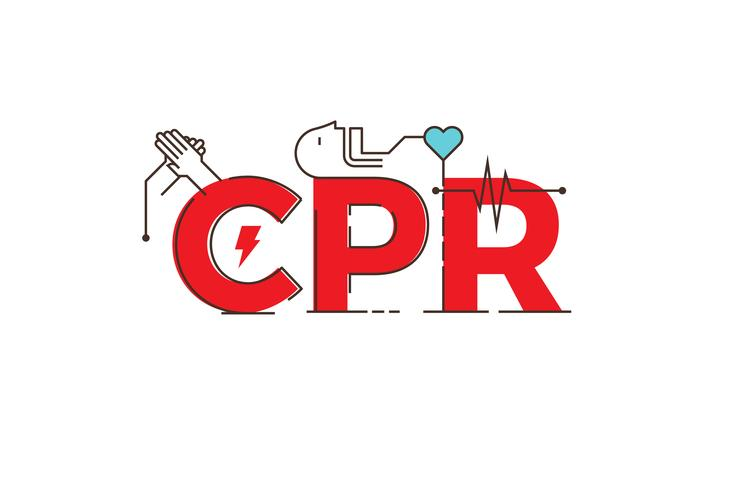 CPR-Wortdesignillustration vektor