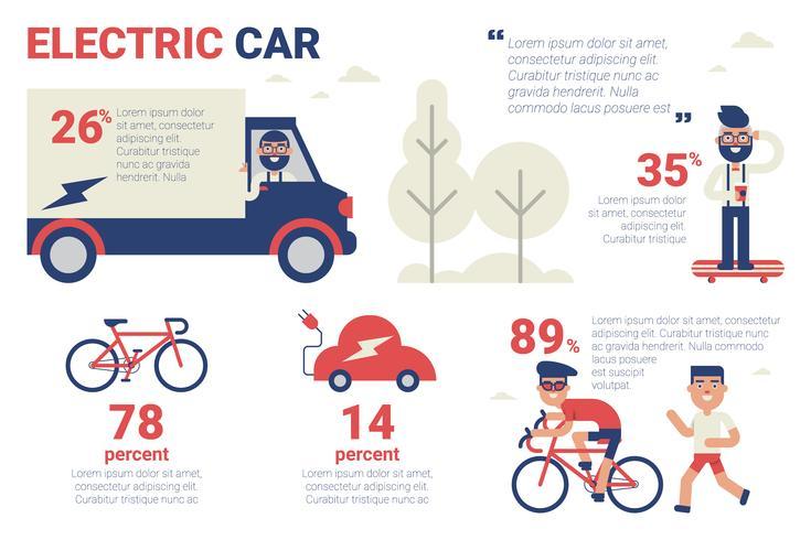 Elektrisk bil infografisk vektor