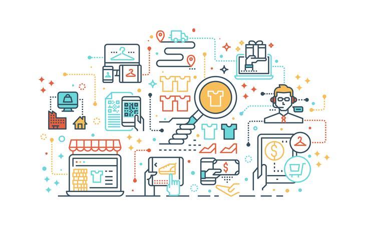 E-Commerce-Online-Shopping-Konzept vektor