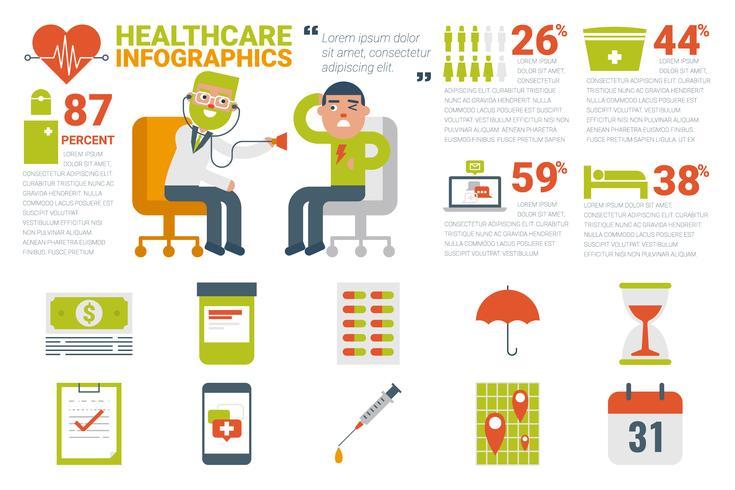 Gesundheitswesen und medizinische Infographik Konzept vektor