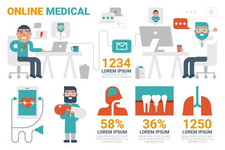 Online medicinska infografiska element vektor