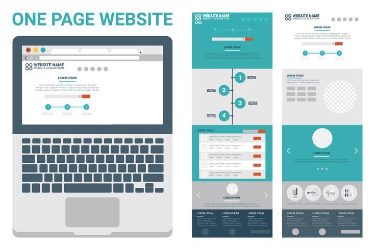 en sida webbplats tema vektor