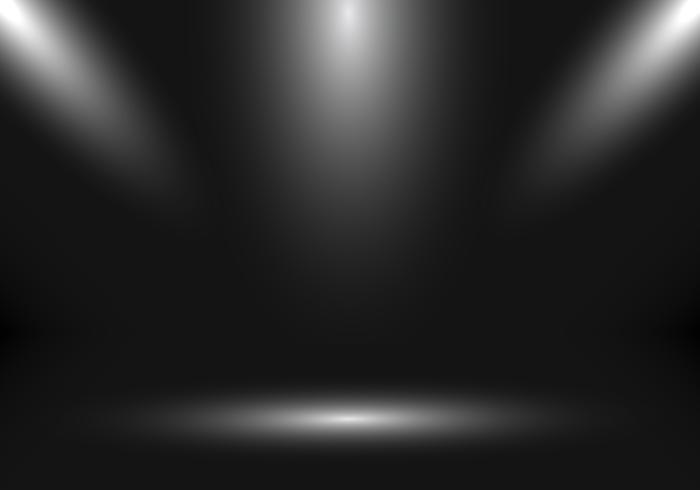 Leerer Showstand des Studioraumes 3D für Designer mit Scheinwerfer auf schwarzem Steigungshintergrund. vektor