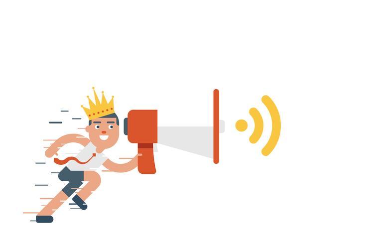 Laufender Geschäftsmann, der Megaphon mit Krone auf seinem Kopf hält vektor