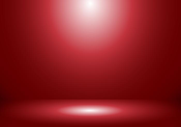 3D leeren Studioraum-Showstand für Designer mit Scheinwerfer auf rotem Steigungshintergrund. vektor