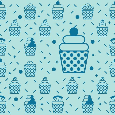 Cupcake sömlös bakgrund vektor