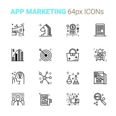 App Marketing Pixel perfekte Symbole vektor