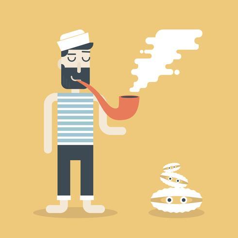 Rauchender Seemann vektor