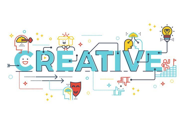 Kreatives Wortbeschriftungstypografiedesign vektor