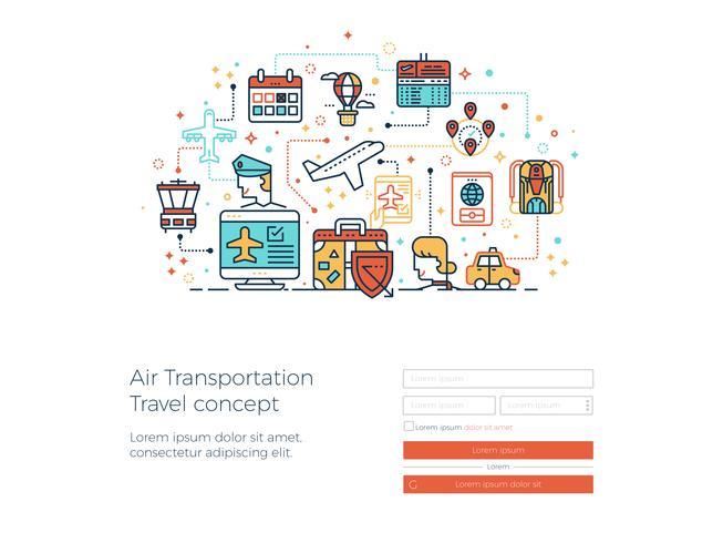 Luft transport rese koncept vektor