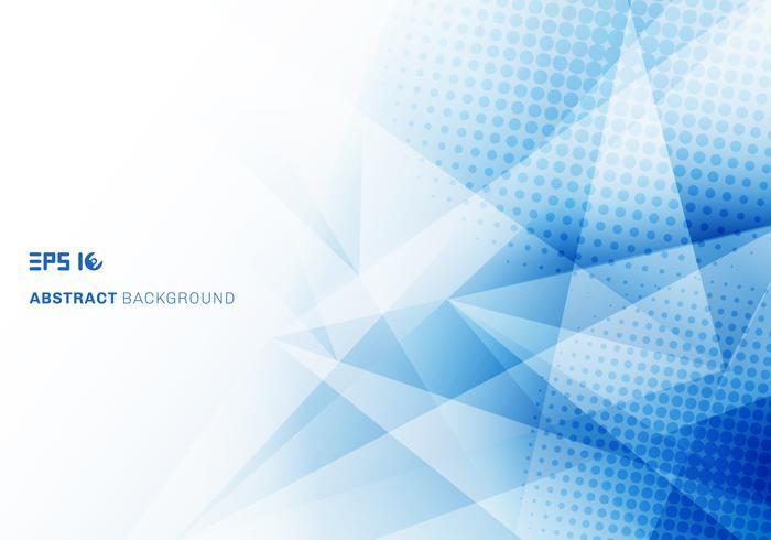Abstraktes niedriges blaues Dreieckpolygon und -halbtonbild mit Kopienraum vektor