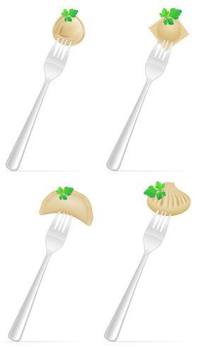 dumplings av deg med en fyllning och gröna på gaffel uppsättning ikoner vektor illustration
