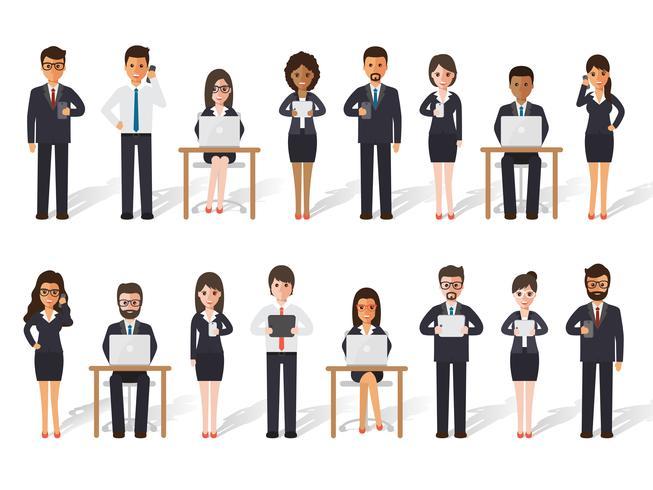 Affärsman och affärskvinna människor i handlingar. vektor