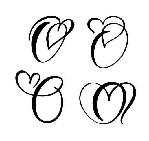 Vektor uppsättning av vintage blommigt brev monogram O. kalligrafi element valentin blomstra. Handritad hjärta skylt för sida dekoration och design illustration. Kärlek bröllopskort för inbjudan