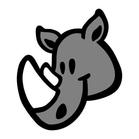 Rhino Horns Animal Cartoon-Vektor-Symbol vektor
