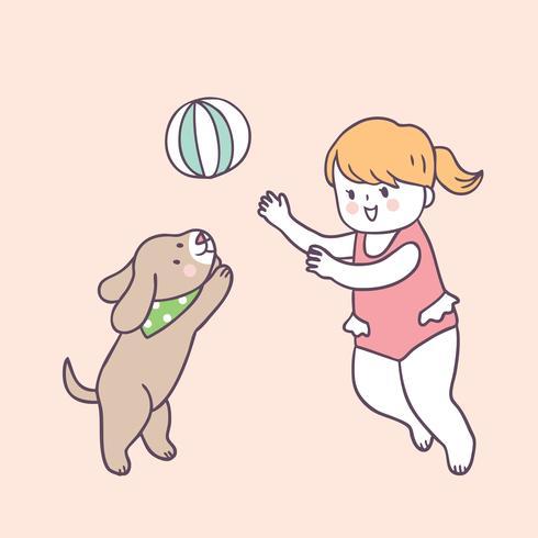 Nettes Sommermädchen und -hund der Karikatur, die Vektor spielt.