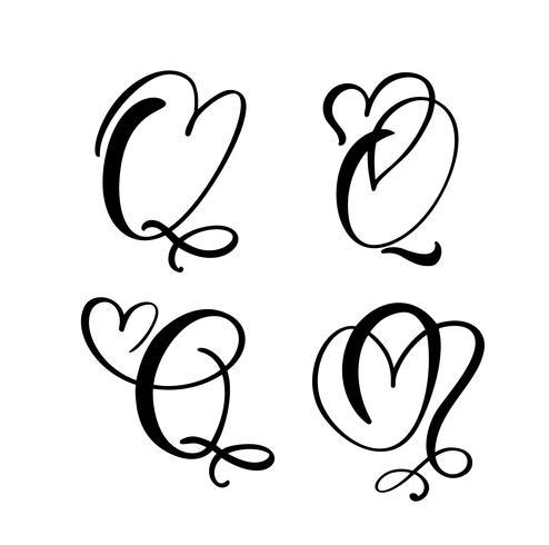 Vektor-Satz des Weinleseblumenbuchstabe-Monogramms Q. Kalligraphieelement Valentinsgrußflourish. Übergeben Sie gezogenes Herzzeichen für Seitendekoration und entwerfen Sie Illustration. Liebeshochzeitskarte für Einladung vektor