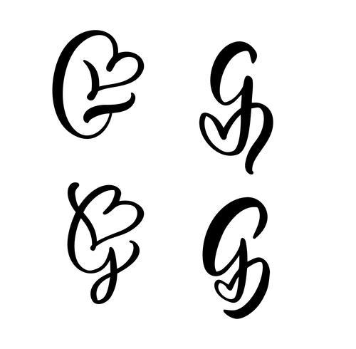 Vektor-Satz des Weinleseblumenbuchstabe-Monogramms G Kalligraphieelement Valentinsgrußflourish. Übergeben Sie gezogenes Herzzeichen für Seitendekoration und entwerfen Sie Illustration. Liebeshochzeitskarte für Einladung vektor