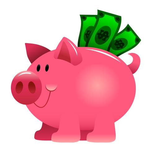 Eine Vektorillustration eines Karikatursparschweins angefüllt mit grünen Dollarscheinen. vektor